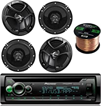 Pioneer DEH-X6900BT single din Bluetooth In-Dash CD/AM/FM Receiver Bundle Kit - with 4 JVC CSJ620 Car Speakers 300W 6.5