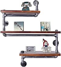 Diwhy Industrial Pipe Shelving Bookshelf Rustic Modern Wood Ladder Pipe Wall Shelf 3 Tiers Wrought IronPipe Design Bookshelf DIY Shelving(Dia 32mm,Weight:30lb) (Black Brush Silver Tube)