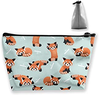 Makeup Pouch, Large Capacity Cosmetic Bag Travel Toiletry Case Accessories Organizer (Red Panda Bears)