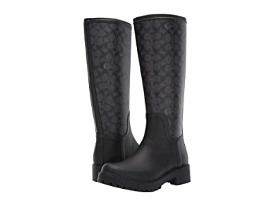 COACH Signature Rain Boot with Signature Coated Canvas (Charcoal/Black Rubber) Women