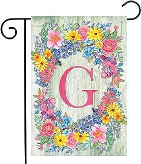 Briarwood Lane Spring Monogram Letter G Garden Flag Floral Wreath 12.5