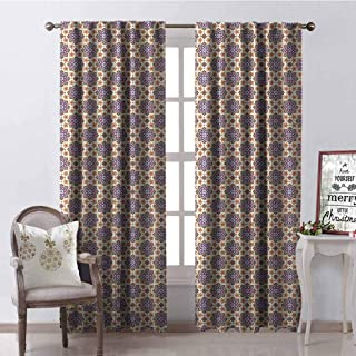 GloriaJohnson Oriental Wear-Resistant Color Curtain Traditional Middle Eastern Pattern of Abstract Flowers with Arabesque Inspirations Waterproof Fabric W52 x L54 Inch Multicolor