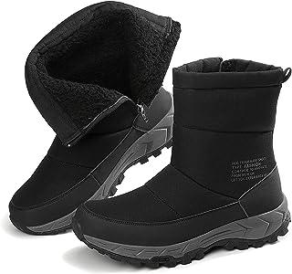 Bottes d'hiver pour homme - Imperméables - Chaudes - Antidérapantes - Chaussures de randonnée d'extérieur - Fermeture écla...