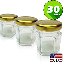 Hexagon Jars Gold Lid (30pcs 1.5 oz) Hexagon Glass Jars with 30pcs Gold Plastisol Lined Lids for Jam Honey Jelly Wedding Favors Baby Shower Favors Baby Food DIY Magnetic Spice Jars Crafts Canning Jars