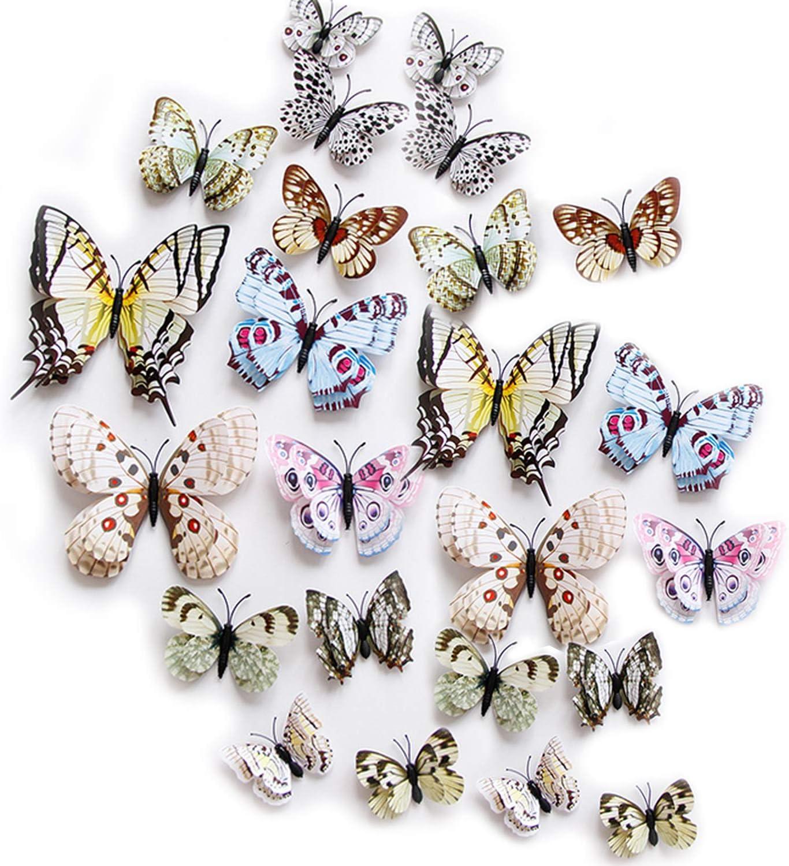 ViViKaya Mariposas Decorativas 3D, 24 piezas de calcomanías de pared con forma de mariposa, decoraciones, decoración de arte DIY(blanco)