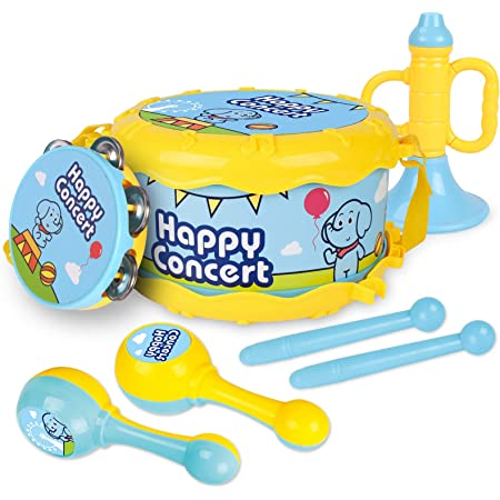 GILOBABY パーカッション セット 子供 楽器 おもちゃ ドラム タンバリン トランペット 赤ちゃん 楽器 早期教育 知育玩具 おもちゃ 男の子 女の子 赤ちゃん おもちゃ7点セット 誕生日プレゼント クリスマス プレゼント 幼稚園 入園祝い