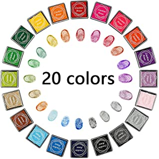 Gift2U Craft Ink Pad Stamps, 20 Color Rainbow Finger Ink pad for Kids