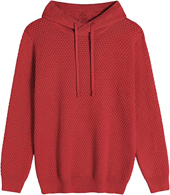Mens Knit Hooded Pullover Sweater Long Sleeve Slim Fit Solid Hoodie Sweatshirt Top Sweaters