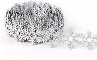 Snow Ribbons Lace for Christmas Holiday Decorations Wedding Party Bridal Decor DIY Handmade Accessories 36MM 10 Yards(Snowflake)