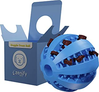 Zenify Puppy Toys Dog Toy Food Treat Interactive Puzzle Ball for Tooth Teething Chew Fetch Tennis Training Boredom Behavio...