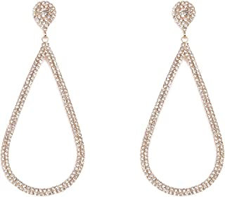 Crystal Gold Tone Pave Drop Stud Earrings