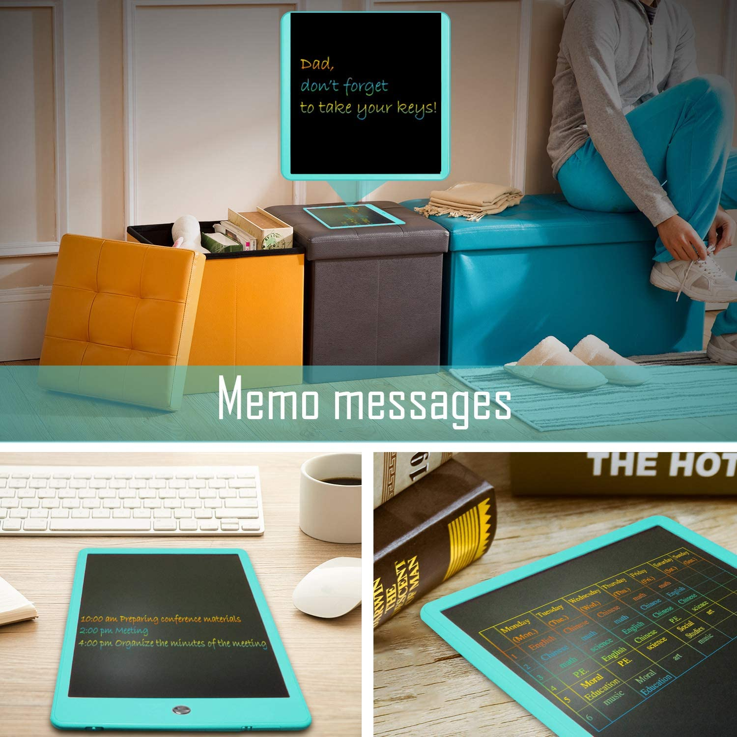 Writing Tablet 10 inch LCD Colorful Screen Writing Pads Drawing Tablet Doodle Pads Electronic Drawing Board Gifts for Kids