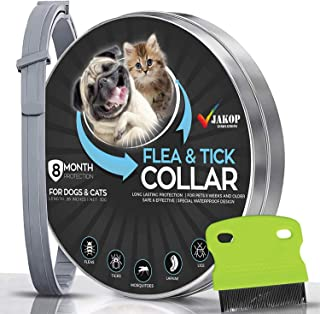 Flea and Tick Collar for Dogs and Cats | Flea Comb | Flea Prevention for Small, Large Dog | Safe and Effective Adjustable Waterproof Design | 8 Month Protection | 100% Natural