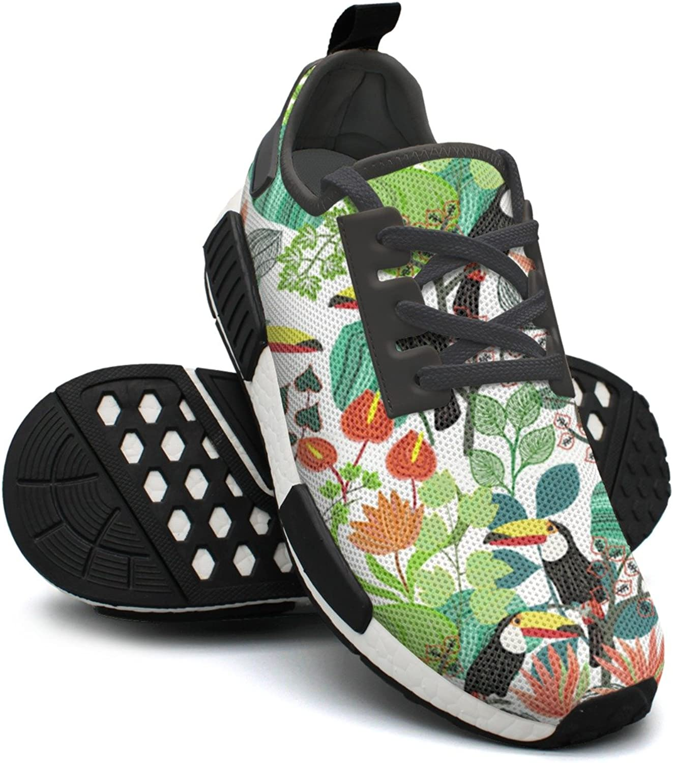 Ktyyuwwww Women colorful Top Tropical Jungle Toucan Paradisio Palms Navy Sports Running shoes