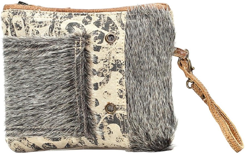 Myra Bag Hide Segmented Denim & Cowhide Wristlet Bag S1015