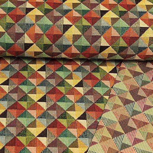 Gobelin Stoff kleine Dreiecke im Quadrat bunt Dekorationen - Preis gilt für 0,5 Meter -