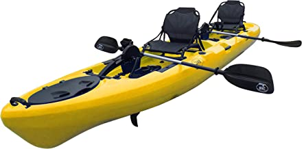 BKC PK14 14' Tandem Sit On Top Pedal Drive Kayak W/Rudder System, 2 Paddles, 2 Upright Back Support Aluminum Frame Seats 2 Person Foot Operated Kayak