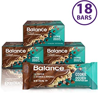 Balance Bar, Healthy Protein Snacks, Cookie Dough, 1.76 oz, Pack of Three 6-Count Boxes