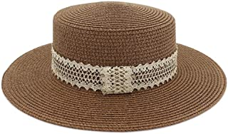 SHENTIANWEI Women Summer Straw Travel Beach Sun hat Holiday Seaside Panama Hat Light Lace Woven with Sun Hat