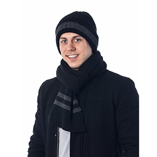 da9e239a870c5 Men s Two-Toned 3M Fleece Thinsulate Ribbed Knit Scarf and Hat Set