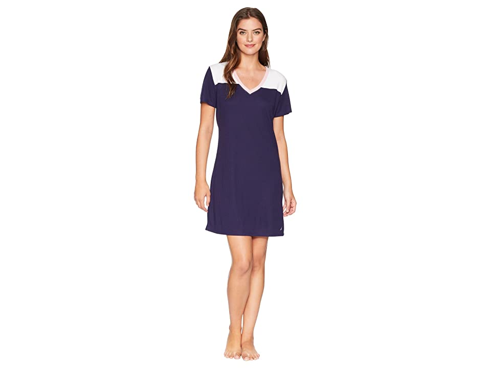 Nautica Color Block Pullover Sleepshirt (Evening Blue) Women