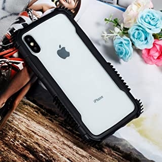 QFH Blade Acrylic + TPU Shockproof Protective Case for iPhone XS Max (Black Blue) new style phone case (Color : Black White)