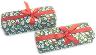 Christmas Cookie Tins With Lids For Gift Giving Empty Candy Treats Ginger Snaps Swap Containers Snack Exchange Boxes Cerebrate a Holiday Goodie Party Favors Set of 2 Cute Rectangular Box w Red Ribbon