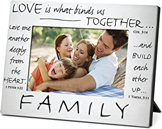 Lighthouse Christian Products Love Binds Us Together Brushed Grey 6.75 x 8.75 Metal Photo Frame