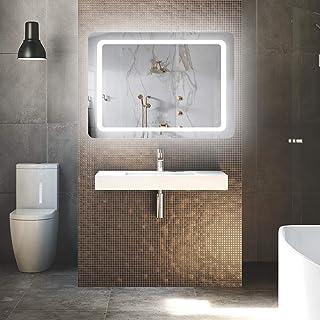 LUVODI Espejo de Pared para Baño con Luz LED Espejo de Baño Moderno con Interruptor Táctil y Función Antivaho 3 Modos Ajustables Ideal para Baño Dormitorio Maquillaje 60×80cm