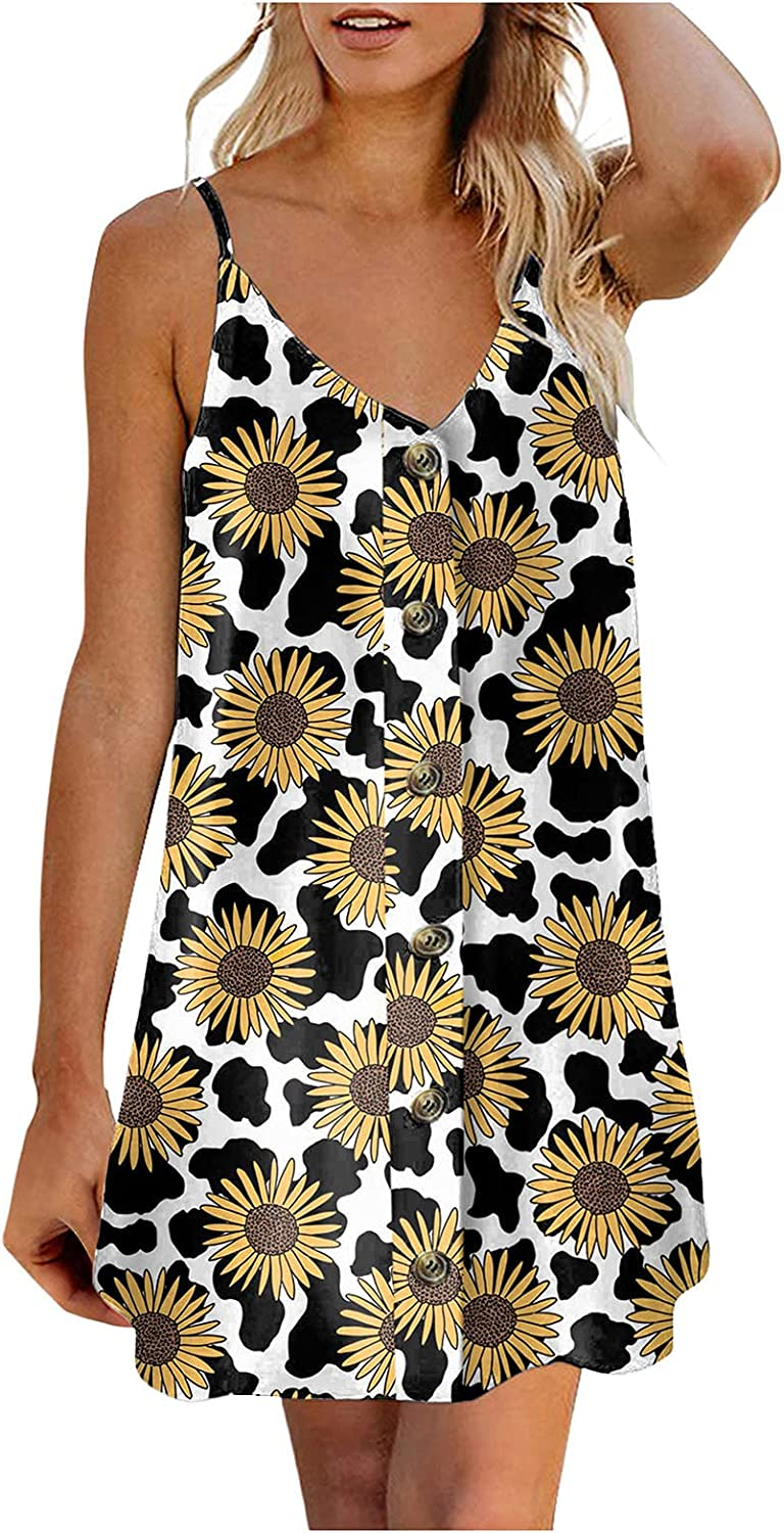 Women Summer Spaghetti Strap Loose P Dress Mini Casual Department store New products, world's highest quality popular! Sunflower
