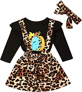 Comulish Toddler Baby Girls Halloween Pumpkin Flying Long Sleeve Shirts TopsLeopardPants Suspender Skirt with Headband