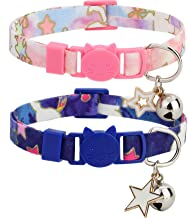 BoomBone 2 Pack Cat Collar Breakaway with Charm Safe Kitten Collars with Bell