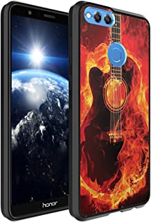 Huawei Honor 7X Case, Capsule-Case Hybrid Slim Hard Back Shield Case with Fused TPU Edge Bumper (Black) for Huawei Honor 7X - (Fire Flames Guitar)