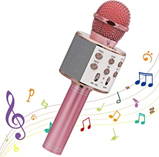 Karaoke Wireless Microphone, Ankuka Bluetooth Microphone Handheld Portable Karaoke Player, Home KTV Player with Record Function, Gift for Kids(Rose gold)