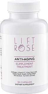 Lift Rose Anti -Aging Multivitamins: Collagen, Vitamin A, Green Tea, Vitamin C, Aloe Vera Leaf, Vitamin E & More! Skin Restoration, Remove Cellulite, Eliminates Expression Mark (60 Count)