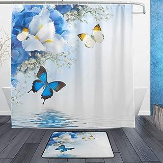AdaCrazy Flores Fondo Mariposa Patrón Conjunto Cortina Ducha Impresión 3D Impermeable Recubierto Baño Tela poliéster con 12 Ganchos 71 Pulgadas Alfombras baño para Piso Interior 60x40cm