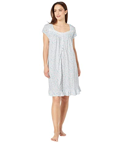 Eileen West Cotton Jersey Knit Short Sleeve Short Nightgown (White Ground Botanical Multi) Women