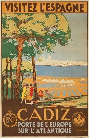Amazon Com Cadiz Visitez L Espagne Vintage Poster Artist De Castro Spain C 1929 12x18 Art Print Wall Decor Travel Poster Posters Prints