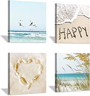 """Beach Artwork Canvas Wall Art: Conch & Reed on Sand Painting with Word Coastal Picture Print for Bedroom (12"""" x 12"""" x 4 Panels)"""