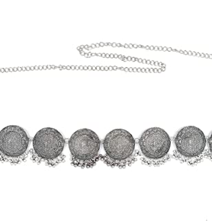 ZaffreCollections Oxidized Silver Kamarband, kamarpatta, Waist Chain, tagdi Waist Belt for Women and Girls (ZCWB0004), 42 ...