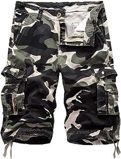 Loyomobak Men's Camouflage Big & Tall Multi Pockets Loose Fit Straight Leg Cargo Shorts