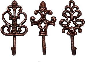Ganchos de pared decorativos de hierro fundido - Rústicos - Cobre - Antiguos - Encanto del campo francés - Grandes ganchos decorativos - Juego de 3 - Tornillos y anclas para montaje incluidos - Marrón