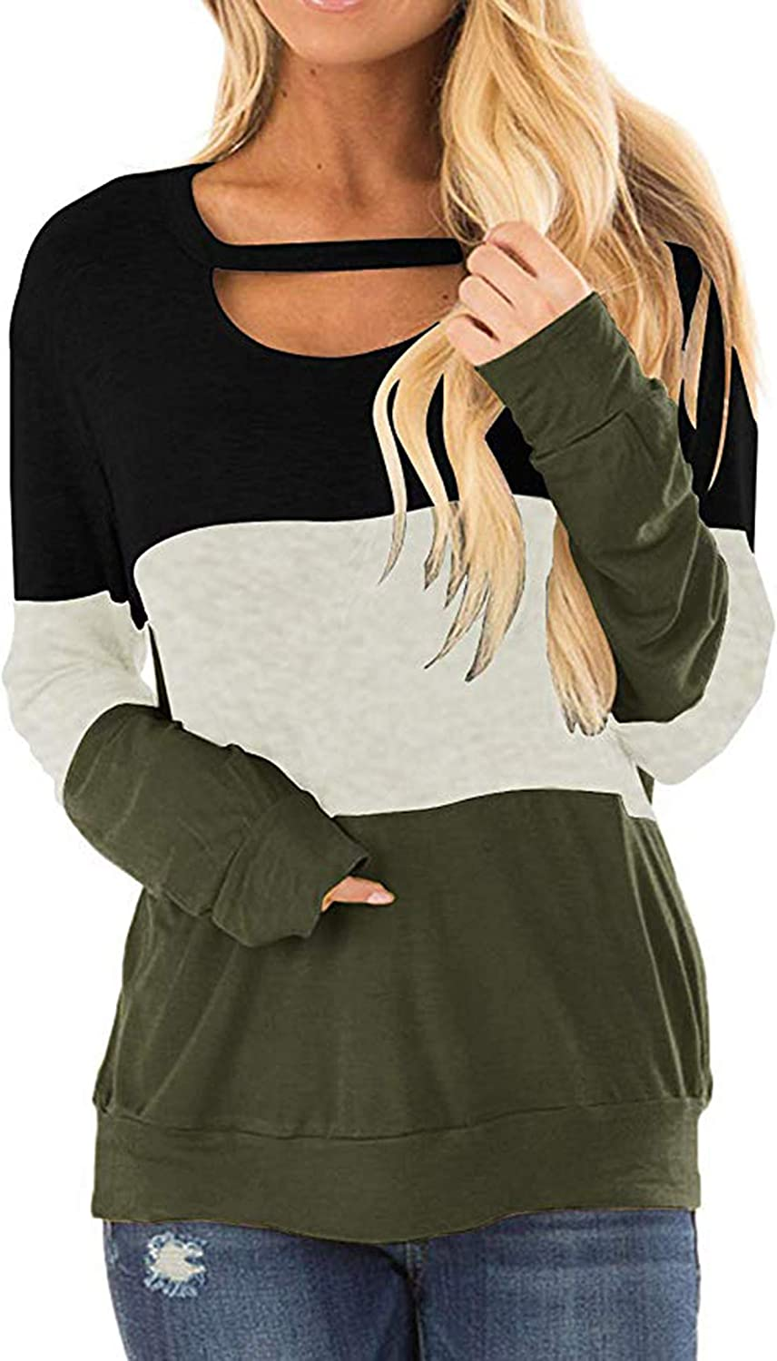 DKKK Women's Round Neck Long Sleeve Color Block Casual Loose Tunic Shirt Blouse Tops