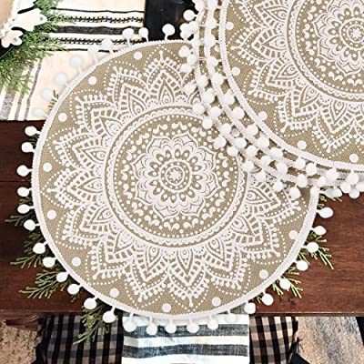 Collive Boho Round Placemat 15 Inch Farmhouse Woven Jute Fringe Table Mats Set Of 4 With Pompom Tassel Place Mat For Dining Room Kitchen Table Decor White Mandala Flower Home