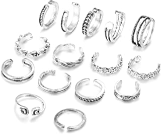 15 PCS OPEN RINGS - One order you will get 15 PCS open rings,you can wear them as toe ring or finger ring as you like.Economical and Affordable. Classic Style, Vintage Infinite Symbol, Delicate and Eye-catching. 15 Different Pcs all in Silver-tone, Worth to Worn.