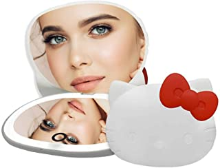 Impressions Hello Kitty Wireless Compact Mirror with LED Strip Light, Rechargeable Makeup Mirror with Touch Sensor and Adjustable Brightness