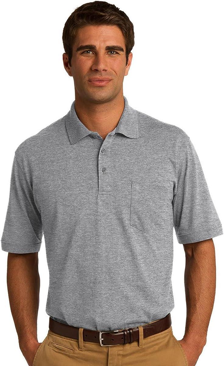 Port & Company Men's Comfortable Knit Pocket Polo Shirt_Athletic Hthr_XXX-Large