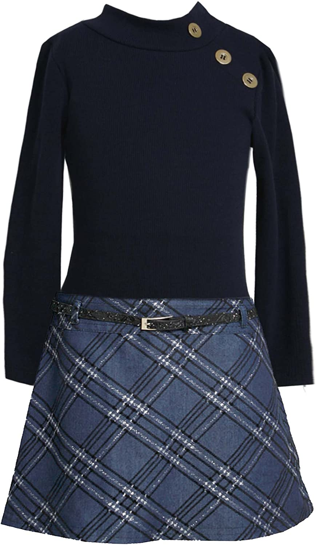 Bonnie Jean Girls 4-6X Blue Black Rib Knit to Glitter Denim Belted Dress