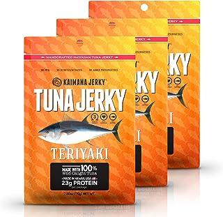 Kaimana Wild-Caught Ahi Tuna Jerky - Teriyaki | Rich in Omega-3s & High in Protein | All-Natural & Organic Fish Jerky (3 pack, 2 oz)