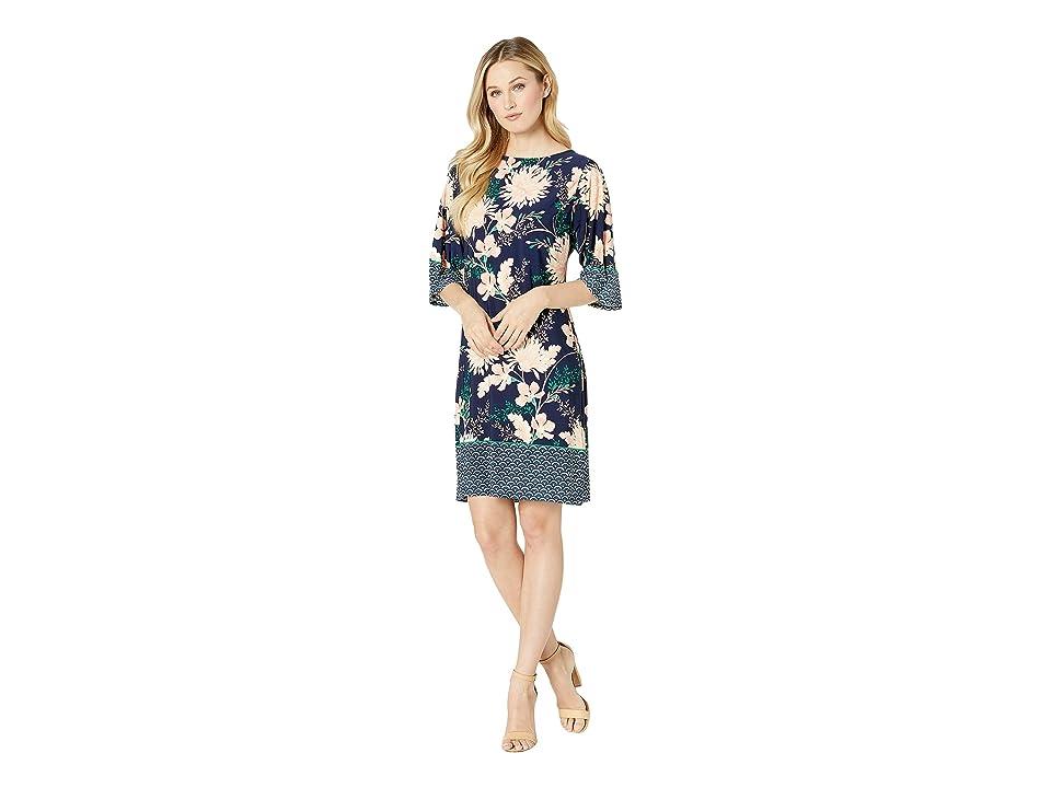 London Times Kimono Sleeve Shift Dress (Navy/Blush) Women
